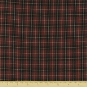 Rustic Woven Small Plaid Cotton Fabric - Wine 1010
