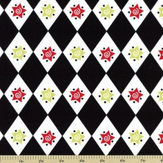 S'Noel Star and Diamond Cotton Fabric - Black