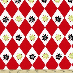 S'Noel Star and Diamond Cotton Fabric - Red