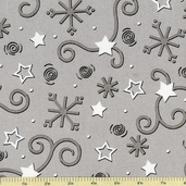 S'Noel Star Cotton Fabric Grey