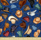Saddle Up Cotton Fabric - Cowboy Hats - Blue