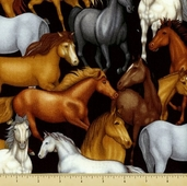 Saddle Up Cotton Fabric - Horses - Black