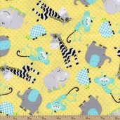 Safari Playground Jungle Babies Flannel Fabric - Yellow