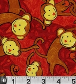 Safari So Good Cotton Fabric  - Monkeys Red - CLEARANCE