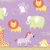 Safari Sweet Organic Cotton Fabric - Safari Animals - Purple