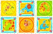 Safari Sweethearts Cotton Fabric Panel - Multi