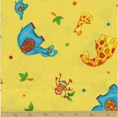 Safari Sweethearts Cotton Fabric - Yellow