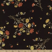 Saffron Bouquet Cotton Fabric - Black