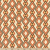 Saffron Diamonds Cotton Fabric - Cream
