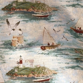 Sail Boat Upholstery Fabric - 60 inch - Multi Color - Clearance