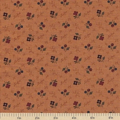 Sandhill Plums Cotton Fabric - Branches Blooms Gold