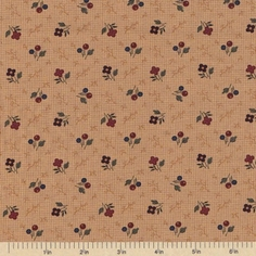 Sandhill Plums Cotton Fabric - Branches Blooms Tan