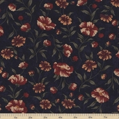 Sandhill Plums Cotton Fabric - Bush Navy