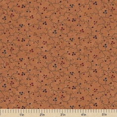 Sandhill Plums Cotton Fabric - Floral Vines Gold
