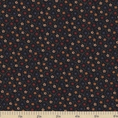 Sandhill Plums Cotton Fabric - Small Floral Black