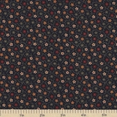 Sandhill Plums Cotton Fabrics - Small Floral Navy