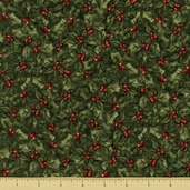 Santa Cane Holly Cotton Fabric - Holly Berry - Green