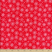 Santa Express Snowflake Flannel Fabric - Red