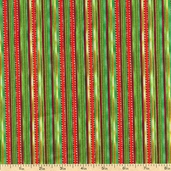 Santa Paws Stripe Cotton Fabric - Green