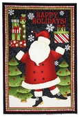 Santa's Gifts Holiday Panel Cotton Fabric - Black 1862-67487-973S