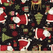 Santa's Gifts Santa's List Cotton Fabric - Black 1862-67491-937S