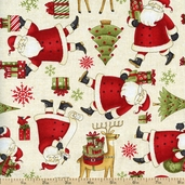 Santa's Gifts Santa's List Cotton Fabric - Cream 1862-67491-237S