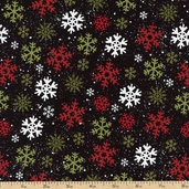 Santa's Gifts Snowflakes Cotton Fabric - Black 1862-67494-973S