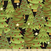 Santa's Gifts Trees Cotton Fabric - Black 1862-67492-973S