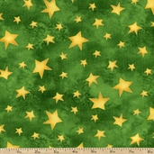 Santa's Journey Metallic Star Toss Cotton Fabric - Green