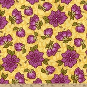 Santorini Floral Cotton Fabric - Yellow 11411-13 - Clearance
