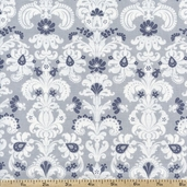Sapphire Floral Paisley Cotton Fabric - Grey