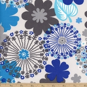 Sapphire Large Floral Cotton Fabric - Grey