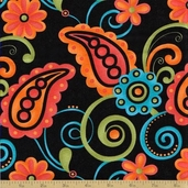 Sassy Cotton Fabric - Large Paisley Black - Sale
