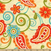 Sassy Cotton Fabric - Paisley Cream 17641-11