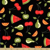 Sassy Cotton Fabric - Tossed Fruit Black - Sale