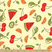Sassy Cotton Fabric - Tossed Fruit Cream - Sale