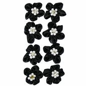 Satin Ribbon Flowers - Black