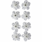 Satin Ribbon Flowers - White