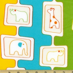 Savanna Bop Cotton Fabrics - Animals Flannel Fabric - Multi