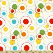 Savanna Bop Cotton Fabrics - Double Circles Flannel Fabric - White