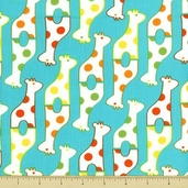 Savanna Bop Cotton Fabrics - Giraffes - Blue