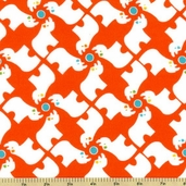 Savanna Bop Cotton Fabrics - Rhinos Flannel Fabric - Orange