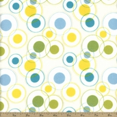 Savanna Bop Double Circle Flannel Fabric - Blue - Clearance