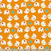Savanna Bop Elephant Toss Cotton Fabric - Orange