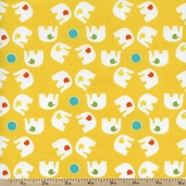 Savanna Bop Elephant Toss Cotton Fabric - Yellow