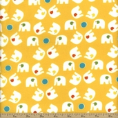Savanna Bop Elephant Toss Flannel Fabric - Yellow