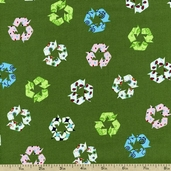 Save the World Recycle Cotton Fabric - Green ACS-11912-7 GREEN - Clearance
