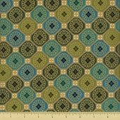 Sayomi Coin Mosaic Cotton Fabric - Peacock Gold K7128-136G