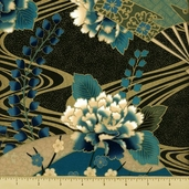 Sayomi Fan and Floral Cotton Fabric - Peacock Gold K7125-136G