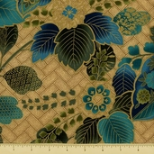 Sayomi Floral and Vine Cotton Fabric - Peacock Gold K7126-136G